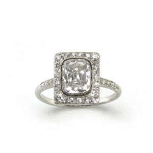Antique Edwardian Cushion Cut Diamond Cluster Platinum Ring