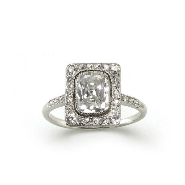 Antique Edwardian Cushion Cut Diamond Cluster Platinum Ring