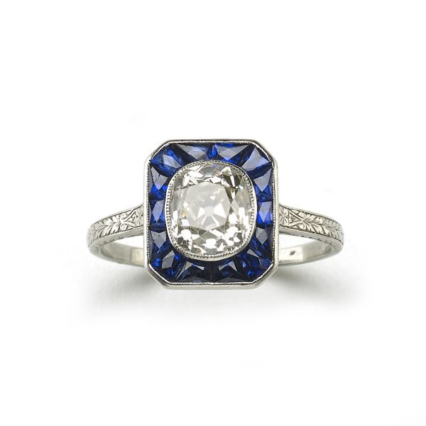 Art deco sapphire and diamond target ring old cut diamond calibre sapphire platinum 1920 1930