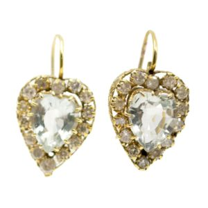 Vintage Aquamarine & Diamond Heart Cluster Earrings