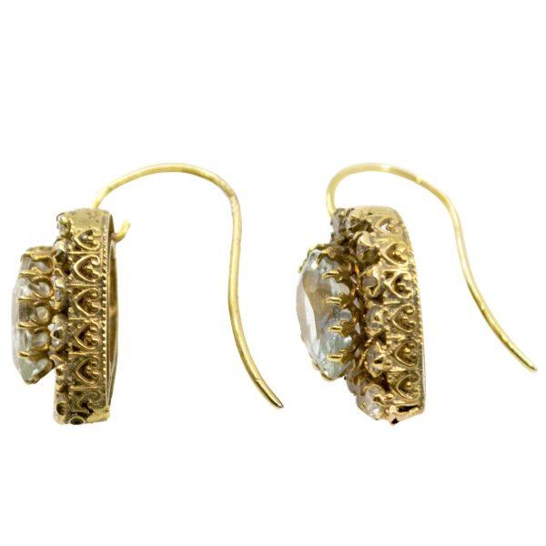 Vintage Aquamarine & Diamond Heart Cluster Earrings