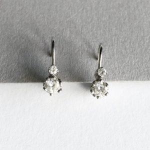 Vintage Brilliant Cut Diamond Drop Earrings
