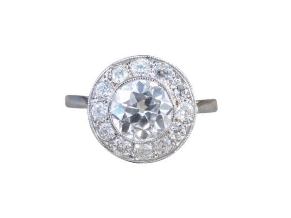 vintage diamond halo surround cluster ring engagement 1.50 carats