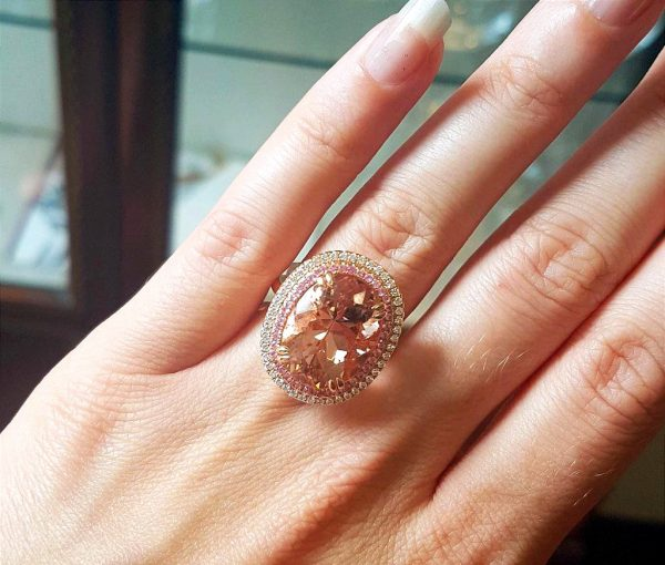 Morganite Ring with Pink Sapphire and Diamond Border, 18ct Rose Gold