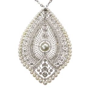 Antique Edwardian Natural Pearl and Diamond Princess Necklace