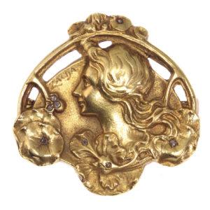 Antique Art Nouveau Zacha Diamond Set 18ct Gold Brooch