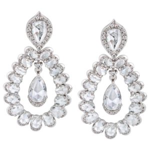 Rose Cut Pear Diamond Drop Earrings; 34 oval rose-cut diamonds curving around two suspended pear-shaped rose-cut diamonds, 5.11 carat total, 18ct white gold