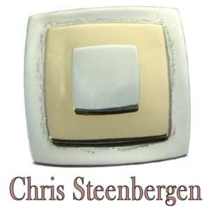 Vintage Chris Steenbergen Gold and Silver Square Brooch
