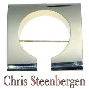Vintage Chris Steenbergen Silver and Yellow Gold Brooch