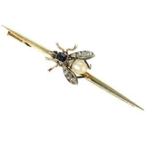 Vintage Gold Gem Set Fly Bar Brooch, 18ct Gold and Silver