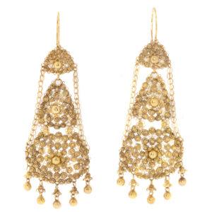 Antique Victorian Dutch Gold Chandelier Filigree Pendant Earrings