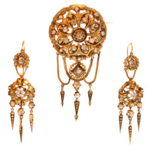 Antique Victorian Gold and Diamond Brooch and Earrings Suite