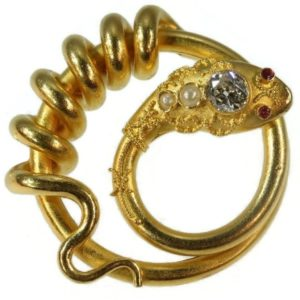 Antique Victorian Diamond and Pearl Set Snake Brooch