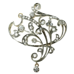 Antique Art Nouveau Rose Cut Diamond Brooch and Pendant in 18ct White and Yellow Gold