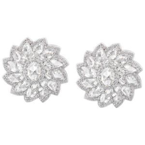 Rose Cut Diamond Flower Cluster Stud Earrings, 7.74cts, 18ct White Gold