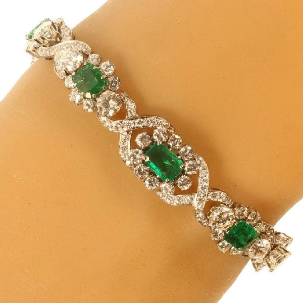 Fine Vintage Columbian Emerald and Diamond Bracelet in White Gold
