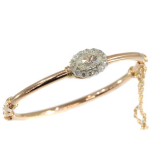 Antique Victorian Rose Cut Diamond Cluster Gold Bangle
