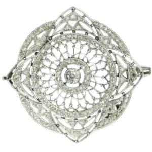Antique Edwardian Old European Cut Diamond Platinum Brooch