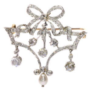 Antique Belle Epoque Diamond and Pearl Garland Brooch