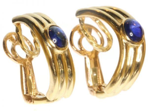 Vintage Boucheron Cabochon Sapphire Ear Clips, 18ct Yellow Gold