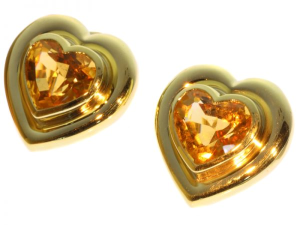 Vintage Paloma Picasso for Tiffany and Co Citrine Heart Shaped Ear Clips