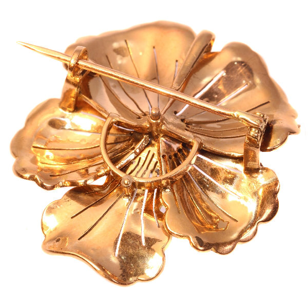 Antique Victorian Diamond and Pearl Gold Pansy Pendant Brooch