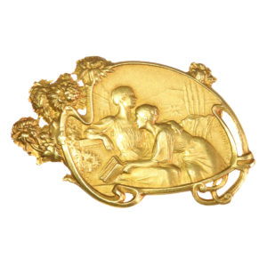 Antique Art Nouveau Vernon 18ct Gold Brooch Depicting Friendship Between Two Women