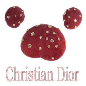 Iconic Vintage Christian Dior Suede Covered Diamond Set Brooch and Earrings Suite, 6.74ct