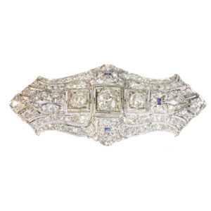 Antique Art Deco Diamond and Sapphire Platinum Brooch
