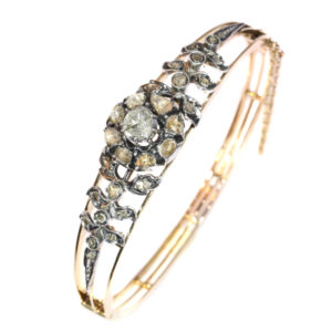 Antique Victorian Rose Cut Diamond Gold Bangle