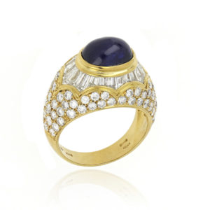 Cabochon Sapphire and Diamond Set Ring, 18ct Yellow Gold