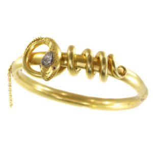 Antique Victorian Diamond Set Coiled Snake Bracelet, 18ct Yellow Gold