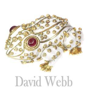 Vintage David Webb Large White Frog Brooch with Ruby Eyes