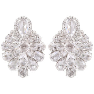 Diamond Floral Cluster Earrings, 9.95 carat total, 18ct White Gold