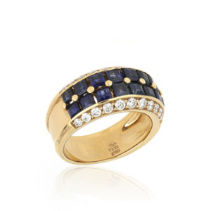 Sapphire and Diamond Set Dress Ring, 18ct Yellow Gold