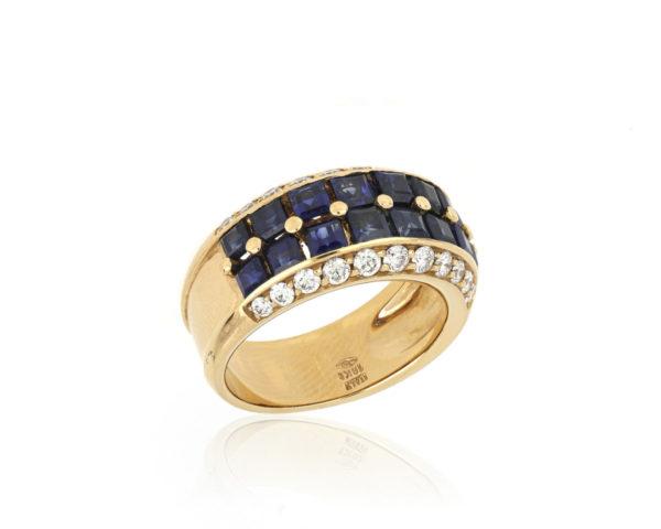 Sapphire and Diamond Set Dress Ring, 18ct Yellow Gold