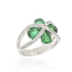 Emerald and Diamond Four Stone Ring, 18ct White Gold