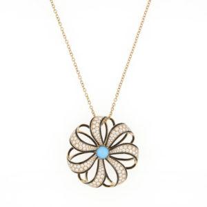 Fine Turquoise, Diamond and Black Enamel Set Pendant Necklace, 18ct Yellow Gold