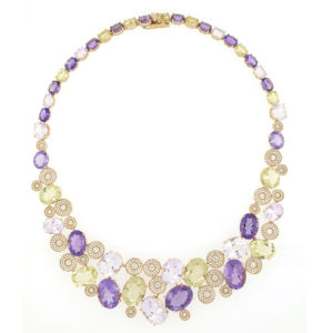 Fancy Amethyst, Peridot, Rose Quartz and Diamond Set 18ct Yellow Gold Necklace