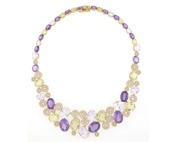 Fancy Amethyst, Peridot, Rose Quartz and Diamond Set 18ct Yellow Gold Necklace