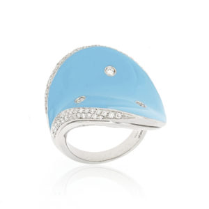 Blue Enamel and Diamond Ring, 18ct White Gold