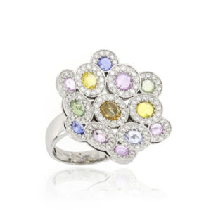 Fancy Coloured Sapphire and Diamond Cluster Ring, 18ct White Gold