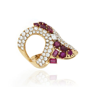 Fine Ruby and Diamond Set Ring, 18ct Yellow Gold