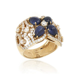 Fine Sapphire and Diamond Ring in 18ct Yellow Gold