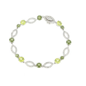 Peridot and Diamond Set Bracelet, 18ct White Gold