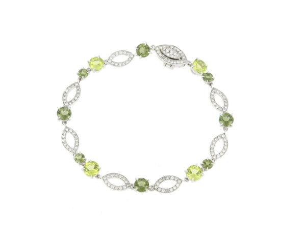 Peridot and Diamond Set Bracelet, 18ct White Gold