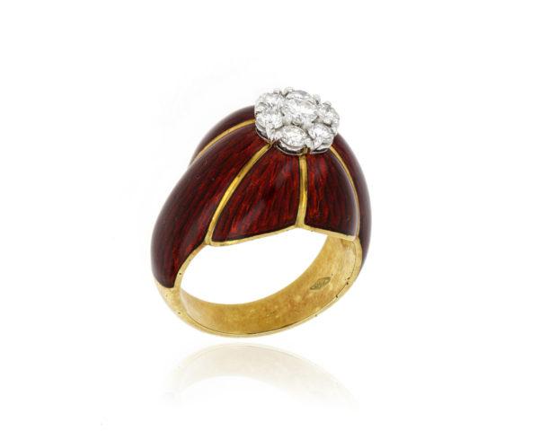 Diamond Set Red Enamel Ring in 18ct Yellow Gold