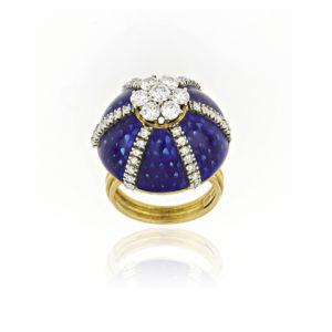 Fine Diamond Set Blue Enamel Cocktail Ring, 18ct Yellow Gold