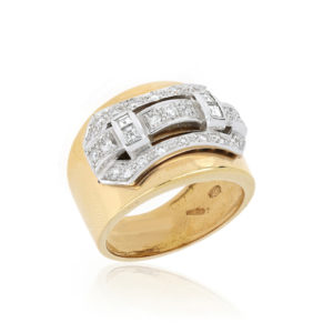 Diamond Set Buckle Ring, 18ct Yellow and White Gold