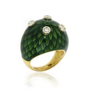 Green Enamel Diamond Set Ring in 18ct Yellow Gold